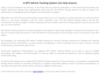 A GPS Vehicle Tracking System Can help Anyone