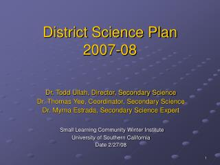 District Science Plan 2007-08