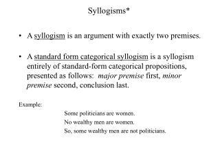 Syllogisms*