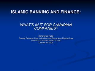 ISLAMIC BANKING AND FINANCE: