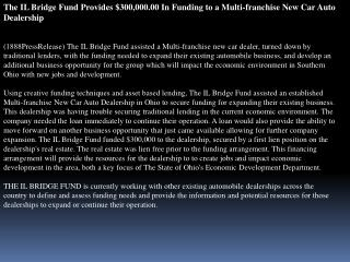 The IL Bridge Fund Provides $300
