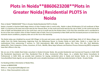 book plots in noida**8860623208**plots in greater noida|resi