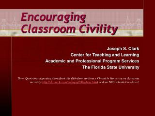 Encouraging Classroom Civility
