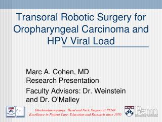Transoral Robotic Surgery for Oropharyngeal Carcinoma and HPV ...