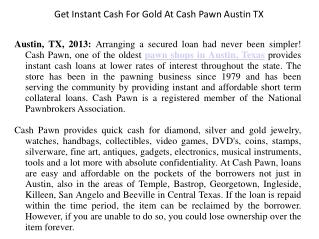 Get Instant Cash For Gold At Cash Pawn Austin TX