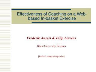 Effectiveness of Coaching on a Web-based In-basket Exercise