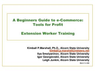 A Beginners Guide to e-Commerce: Tools for Profit Extension Worker Training