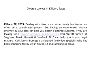 Divorce Lawyer In Killeen, Texas