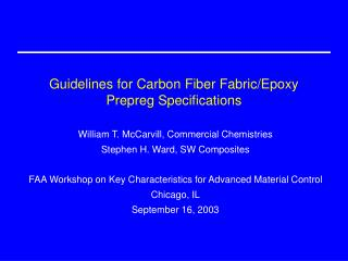 Guidelines for Carbon Fiber Fabric/Epoxy Prepreg Specifications