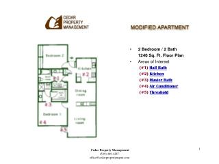 2 Bedroom / 2 Bath 	1240 Sq. Ft. Floor Plan Areas of Interest (#1)  Hall Bath 	 (#2)  Kitchen 	 (#3)  Master Bath 	 (#4)
