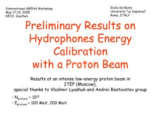 Preliminary Results on Hydrophones Energy Calibration  with a Proton Beam