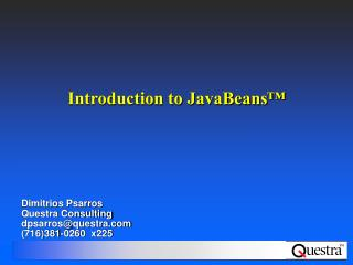 Introduction to JavaBeans™