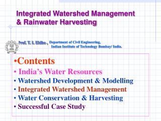 Integrated Watershed Management & Rainwater Harvesting