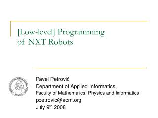 [Low-level] Programming  of NXT Robots