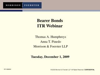 Bearer Bonds ITR Webinar