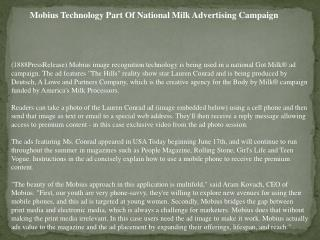 Mobius Technology Part Of National Milk Advertising Campaign