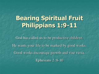 Bearing Spiritual Fruit Philippians 1:9-11