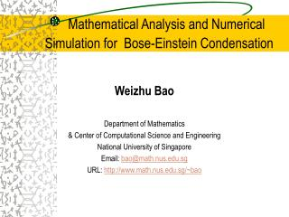 Mathematical Analysis and Numerical Simulation for  Bose-Einstein Condensation