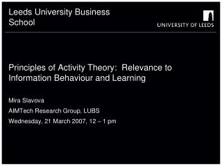 Principles of Activity Theory: Relevance to Information ...