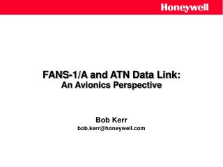 FANS-1/A and ATN Data Link: An Avionics Perspective