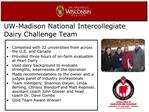 UW-Madison National Intercollegiate Dairy Challenge Team