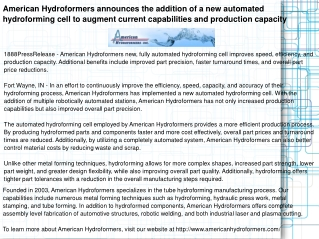 American Hydroformers announces the addition of a new automa