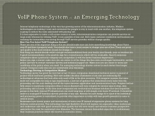 VoIP Phone System is an Emerging Technology