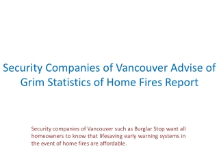Security Companies of Vancouver Advise of Grim Statistics of