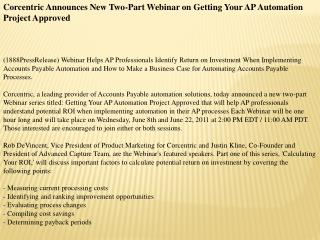 corcentric announces new two-part webinar on getting your ap