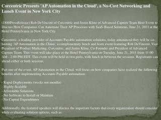 corcentric presents 'ap automation in the cloud', a no-cost