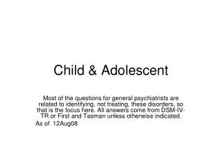Child & Adolescent