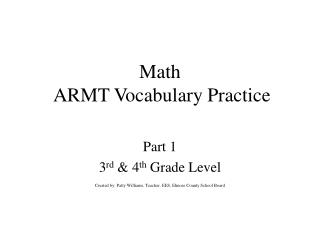 Math  ARMT Vocabulary Practice