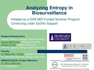 Analyzing Entropy in Biosurveillance