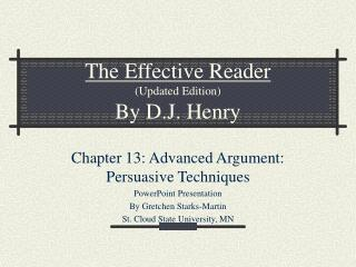 The Effective Reader Updated Edition By D.J. Henry