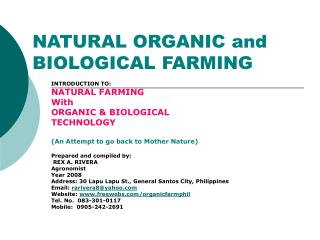 NATURAL ORGANIC and BIOLOGICAL FARMING