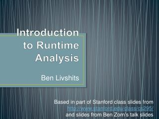 Introduction to Runtime Analysis