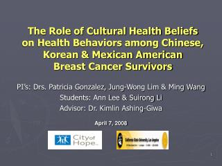 The Role of Cultural Health Beliefs  on Health Behaviors among Chinese, Korean & Mexican American  Breast Cancer Survivo