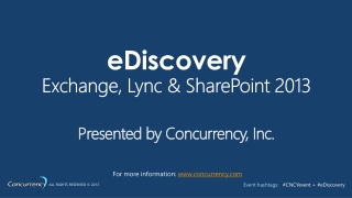 2013 Microsoft eDiscovery Event
