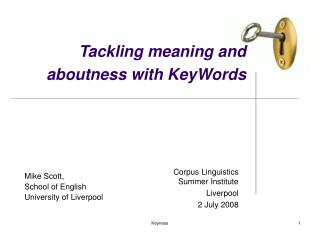 Tackling meaning and aboutness with KeyWords