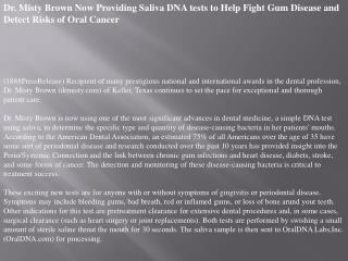 dr. misty brown now providing saliva dna tests to help fight