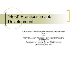 """Best"" Practices in Job Development"