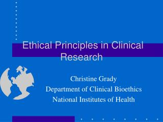 Ethical Principles in Clinical Research