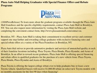 plaza auto mall helping graduates with special finance offer