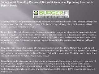 john rosatti, founding partner of burgerfi announces upcomin