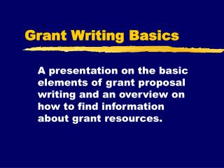 Grant Writing Basics