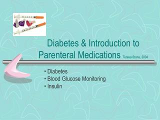Diabetes & Introduction to Parenteral Medications Teresa Stone, 2004