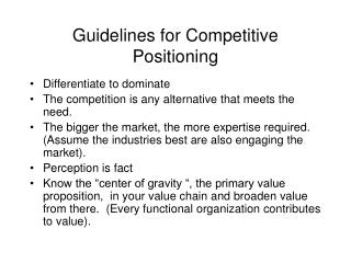 Guidelines for Competitive Positioning