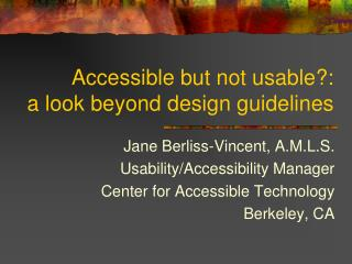Accessible but not usable?:  a look beyond design guidelines
