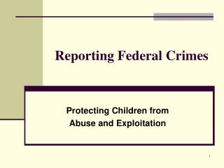 Reporting Federal Crimes