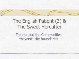 The English Patient (3) &  The Sweet Hereafter